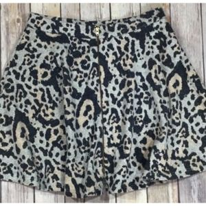 Top Shop Skirt Animal Print Exposed Front Zip 6